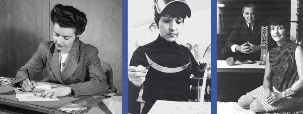 Montage of archival photos Mary Ann Schere - in the 40's at General Motors, in the 70s in her work shop and with husband Sam Scherr