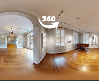 330 degree view of a gallery, looking through a hallway