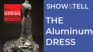 Photo of dress made from aluminum on left, type on right