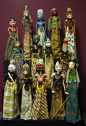 array of various Indonesian puppets