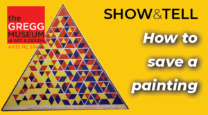 Triangular painting on left, type on right