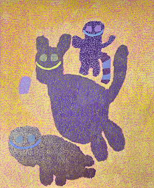 completed painting by King Godwins showing three purple animals on a yellow-orange ground