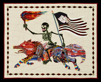 "Ben Venom ""I Am The Night Rider"" quilt featuring a skeletal rider"