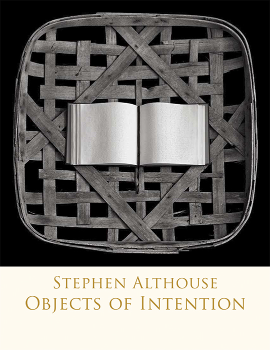 Objects of Intention cover featuring the photo of a book resting on a wicker basket