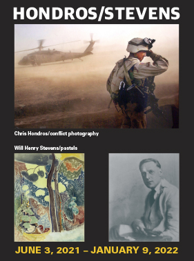 Poster style graphic featuring one photo of a US soldier in Afghanistan, a pastel drawing of trees, and portrait of Will Henry Stevens